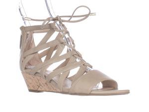 Franco Sarto Brixie Lace-up Wedge Sandals - Taupe, 6 M US