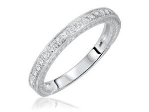 1/4 Carat T.W. Round Cut Diamond His and Hers Wedding Band Set 14K White Gold-