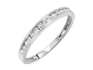 3/8 Carat T.W. Round Cut Diamond Men's Wedding Ring 10K White Gold- Size 8.25