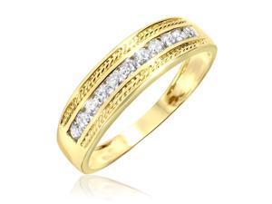 1/3 Carat T.W. Round Cut Diamond Men's Wedding Ring 10K Yellow Gold- Size 12.5