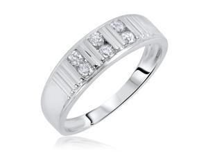 3/8 Carat T.W. Round Cut Diamond Men's Wedding Ring 14K White Gold- Size 10.75