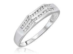 1/3 Carat T.W. Round Cut Diamond Men's Wedding Ring 14K White Gold- Size 7.5
