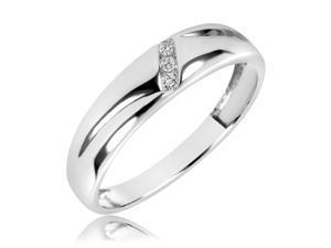 1/20 Carat T.W. Round Cut Diamond Men's Wedding Band 10K White Gold- Size 12.25