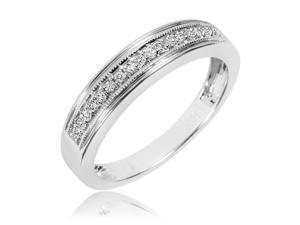 1/6 Carat T.W. Round Cut Diamond Men's Wedding Band 10K White Gold- Size 8.75