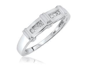 1/7 CT. T.W. Round Cut Diamond Men's Wedding Band 14K White Gold- Size 11.75