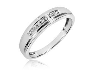 1/10 Carat T.W. Round Cut Diamond Men's Wedding Band 10K White Gold- Size 10.5