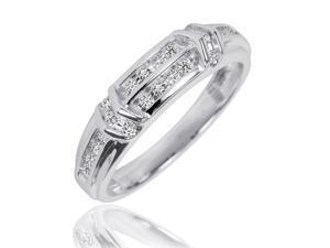 1/3 Carat T.W. Round Cut Diamond Men's Wedding Ring 14K White Gold- Size 11.25