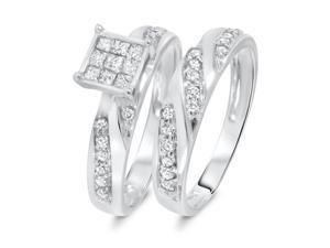 3/4 Carat T.W. Round, Princess Cut Diamond Engagement Ring and Women's Wedding
