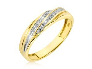 1/10 CT. T.W. Round Cut Diamond Men's Wedding Band 14K Yellow Gold- Size 9.25