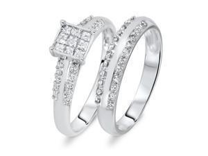 3/4 Carat T.W. Round, Princess Cut Diamond Ladies Bridal Wedding Ring Set 10K