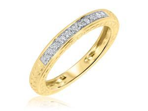 3/8 Carat T.W. Round Cut Diamond His and Hers Wedding Band Set 14K Yellow Gold-