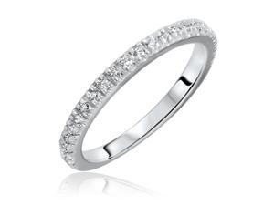 1/4 Carat T.W. Round Cut Diamond His and Hers Wedding Band Set 10K White Gold-