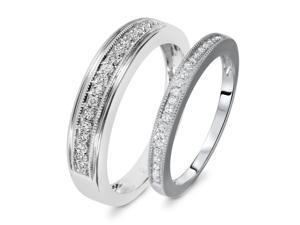1/3 Carat T.W. Round Cut Diamond His And Hers Wedding Band Set 14K White Gold-