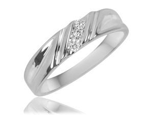 1/20 Carat T.W. Round Cut Diamond Men's Wedding Band 14K White Gold- Size 9