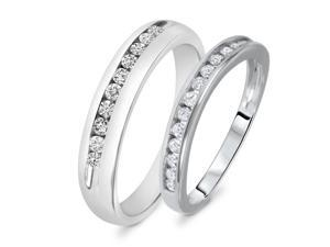 1/2 Carat T.W. Round Cut Diamond His And Hers Wedding Band Set 14K White Gold-