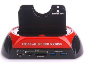 Multi-function/All in 1 HDD Docking Station for 2.5/3.5 HDD model 876U3C USB3.0+3.0hubs+3.0 Card Reader HDD Enclosure
