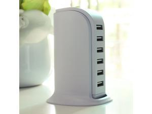 40W 5V/8A Family-Sized   6Port Desktop USB Wall Charger Travel Power Adapter for iPhone 6 Plus/Ipad/Sumsang Most Other 5V USB-Charged Devices Charging Extension Socket Outlet With Switcher