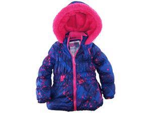 Big Chill Little Girls' Colorful Warm Paint Splatter Puffer Winter Jacket Coat, 2T, Navy