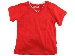 Smith's American Little Boys' Classic V-Neck T-Shirt With Chest Pocket, Red, 4T