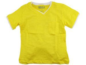 Smith's American Little Boys' Classic V-Neck T-Shirt With Chest Pocket, Yellow, 3T