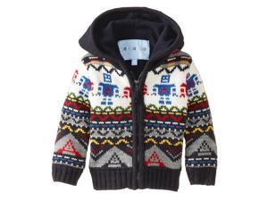 Wippette Little Boys' Fun Robot Zip Front Hooded Cardigan Sweater, Navy, 2T
