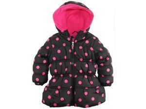 Pink Platinum Little Girls' Toddler Big Polka Dots Hooded Puffer Winter Jacket, Black, 3T
