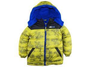 iXtreme Little Boys' Color Block Mountain Guard Puffer Winter Jacket Coat, Acid, 5