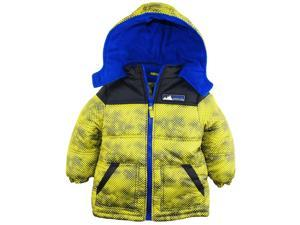 iXtreme Little Boys' Color Block Mountain Guard Puffer Winter Jacket Coat, Acid, 3T