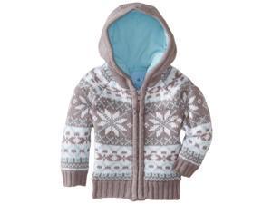 Wippette Little Boys' Nordic Snowflake Front Zip Winter Cardigan Sweater, Grey, 2T