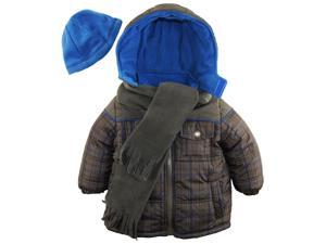 iXtreme Little Boys' Plaid Expedition Puffer Winter Coat Scarf and Hat Set, Charcoal, 4T