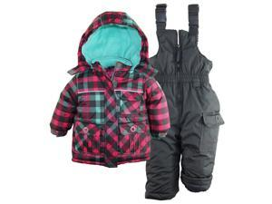 Rugged Bear Baby Girls' Classic Check Snowboard Jacket 2Pc Snowsuit Ski Bib Set, Charcoal, 12 Months