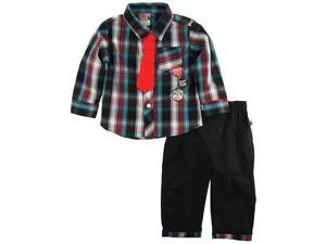 Dog Sport Baby Boys Plaid Long Sleeve Shirt with Tie 2Pc Pant Outfit Set, Black, 18 Months