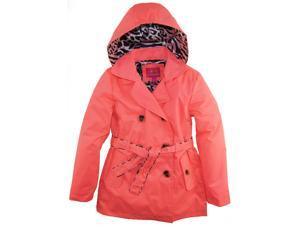 Pink Platinum Little Girls Hooded Animal Accents Lining Trench Raincoat Jacket, Coral, 4