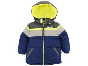 iXtreme Little Boys' Toddler Cut and Sew Colorblock Puffer Winter Jacket, Navy, 4T