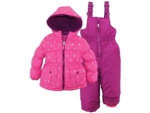 Pink Platinum Little Girls Snowsuit Silver Starts Jacket with Solid Snow Ski Bib, Pink, 6X