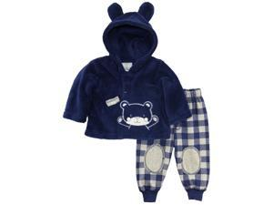 Duck Goose Baby Boys Teddy Bear Ear Sherpa Hoodie Microfleece Plaid Pant Set, Navy, 12 Months