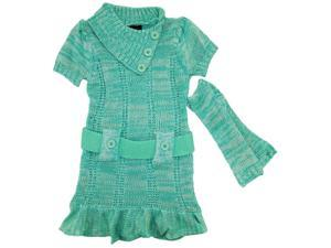 Dollhouse Little Girls Ruffled Belted Cardigan Sweater Dress with Arm Warmers, Green, 5/6