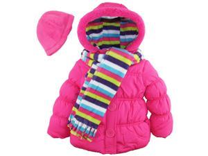 Pink Platinum Little Girls' Puffer Coat with Stripe Scarf and Hat, Pink Glow, 2T