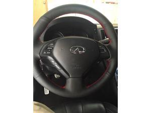 Leather Steering Wheel Cover for 2007 2008 Infiniti G35 / 2011 2012 Infiniti G25 / 2008 - 2013 Infiniti G37 / 2008 - 2012 Infiniti EX35 / 2013 Infiniti EX25/EX37 / 2014 2015 Q60 / 2014 QX50 / 2015 Q40