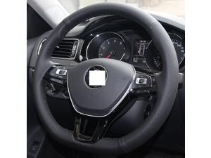 Genuine Leather Steering Wheel Cover for 2016 Volkswagen VW Passat / 2015 2016 Volkswagen VW Golf TSI / 2015 2016 VW E-Golf / 2015 2016 VW Golf Sportwagen / 2015 2016 Jetta Hybrid/2015 2016 VW Jetta