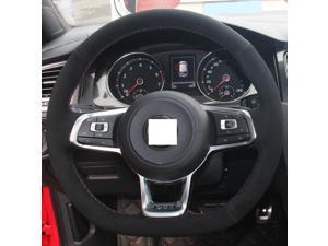Hand Sewing Suede Genuine Leather Steering Wheel Cover for 2015 Volkswagen VW Jetta GLI / 2015 2016 Volkswagen VW Golf R / 2015 2016 Volkswagen VW Golf 7 MK7 GTI (Blue and Red Thread)