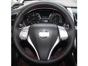 Hand Sewing Black Genuine Leather Steering Wheel Cover for 2013 2014 2015 2016 Nissan Altima / 2014 2015 2016 Nissan Rogue (Black Leather Red Thread)