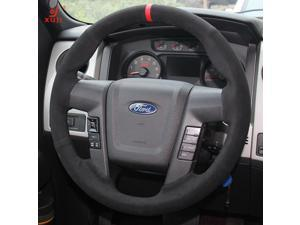 Hand Sewing Black Suede Genuine Leather Steering Wheel Cover for 2010 2011 2012 2013 2014 Ford F150 SVT Raptor