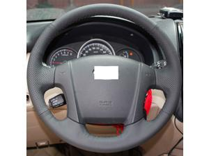 Hand Sewing Black Genuine Leather Steering Wheel Cover for 2005 2006 2007 2008 2009 2010 Kia Sportage