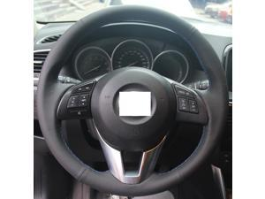 Hand Sewing Black Genuine Leather Steering Wheel Cover for 2013 2014 2015 2016 Mazda CX-5 / 2014 2015 2016 Mazda Mazda 6 / 2014 2015 2016 Mazda Mazda 3 / 2016 Mazda CX-3 / 2016 Scion iA (Blue Thread)