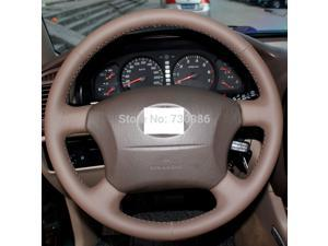 Leather Steering Wheel Cover for 2005 - 2011 Toyota Tacoma / 2003 - 2009 Toyota 4Runner / 2004 - 2010 Toyota Sienna / 2003 - 2007 Toyota Sequoia / 2004-2007 Toyota Highlander / 2005 2006 Toyota Camry