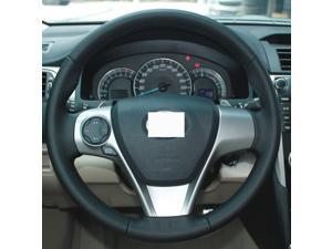Genuine Leather Steering Wheel Cover for 2012-2014 Toyota Camry L / 2012 2013 2015 2016 2017 Camry LE / 2012-2017 Toyota Camry SE / 2012 2015 2016 2017 Camry XLE /2015-2017 Camry XSE / 2013-2015 Venza