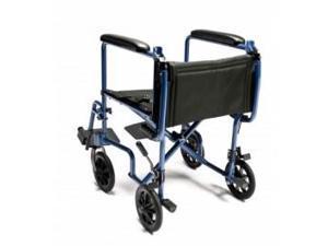 """E&J Aluminum Transport Chair -Lightweight Aluminum Transport Chair, 17"""", Blue - Each 1"""