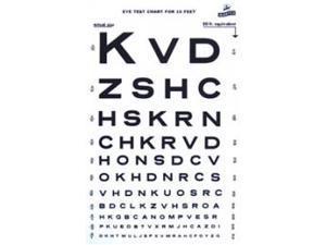 """Grafco 1264 Snellen Type Plasic Eye Chart - 10Ft, 14"""" X 9"""""""