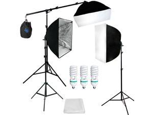 Lusana Studio Softbox Boom Stand 3 Photo Video Continuous Lighting Kit LNG1792